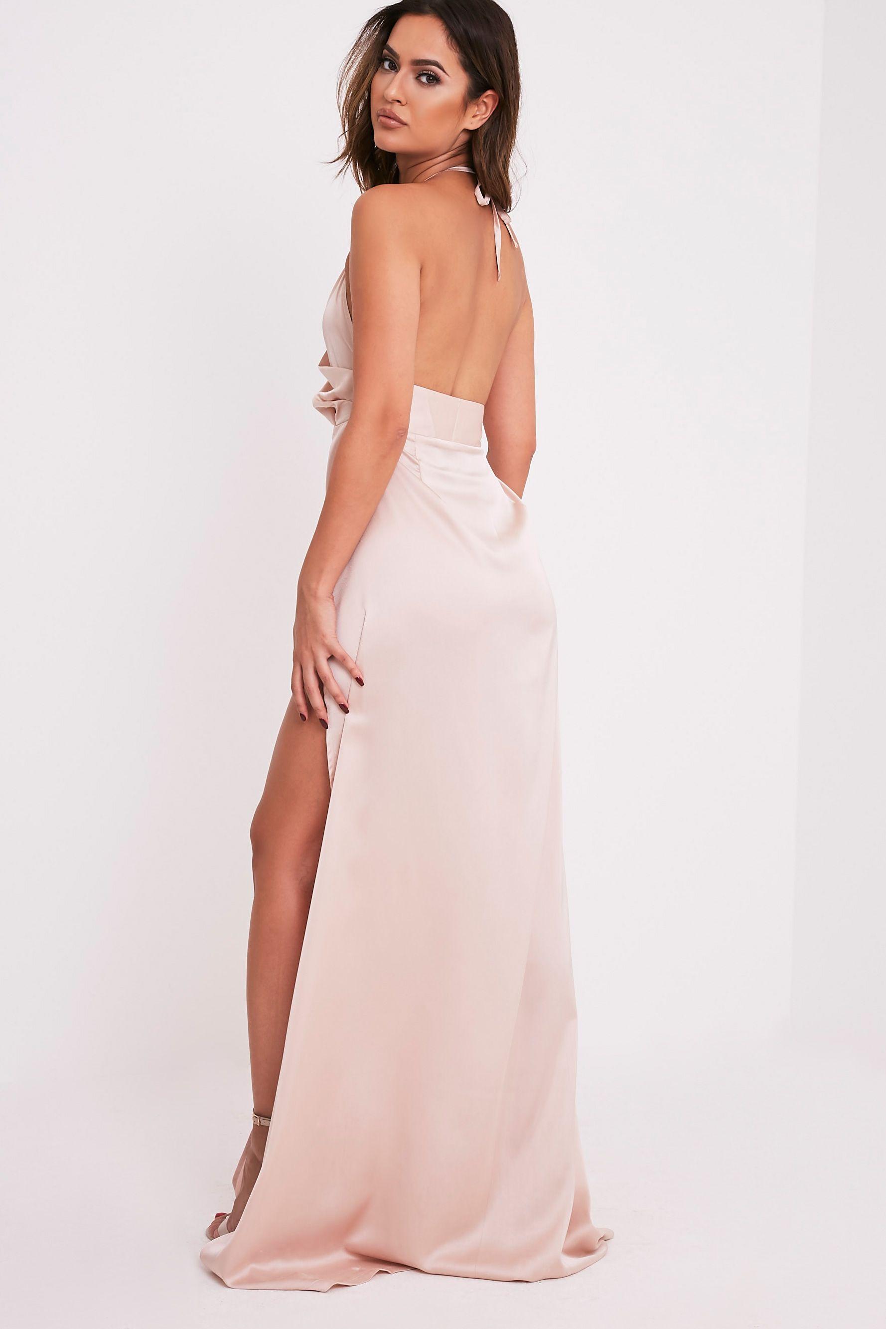 b5601c421fbcbe Lucie Champagne Silky Plunge Extreme Split Maxi Dress Image 4