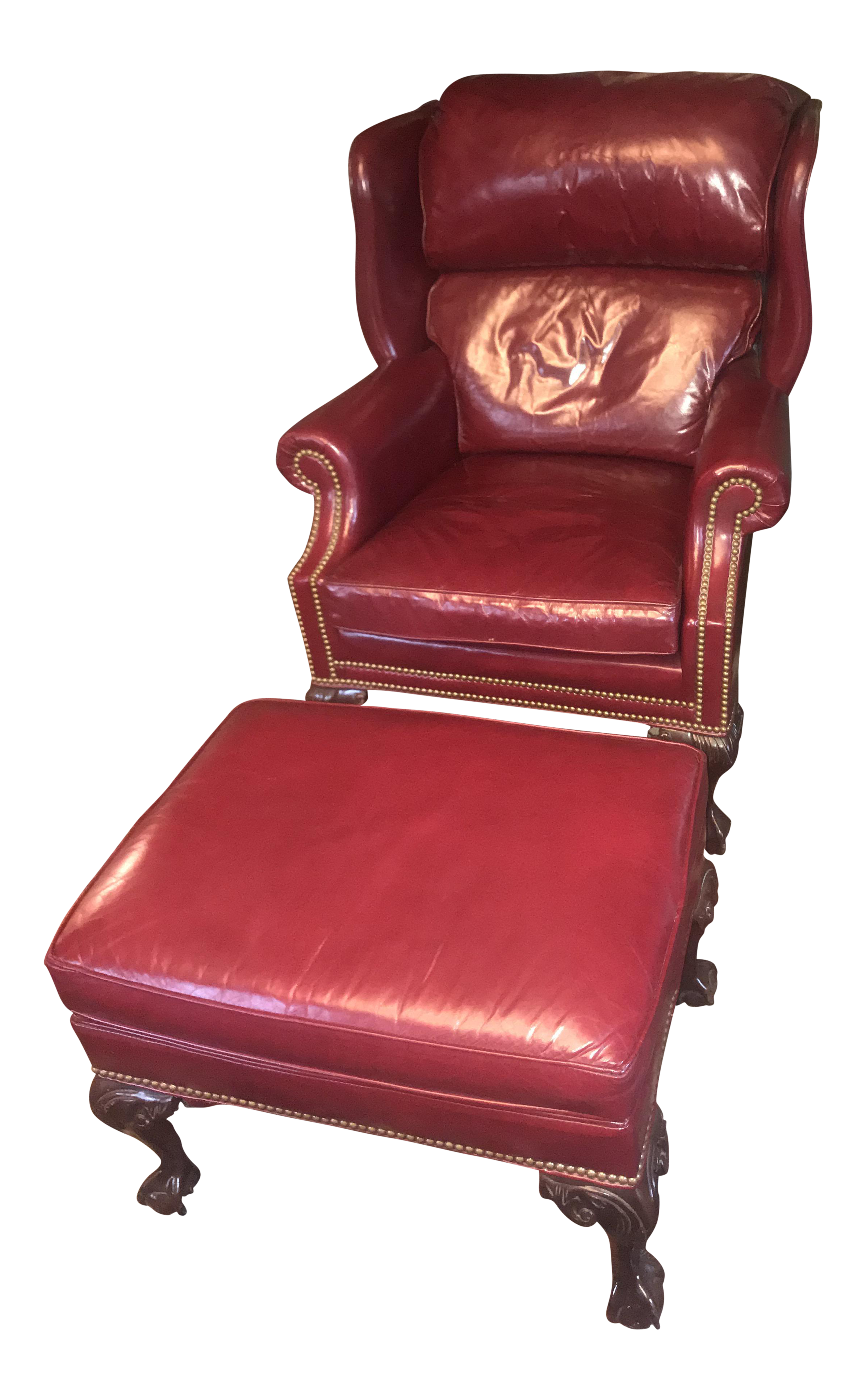 Red Leather Wing Back Chair and Ottoman Chair and