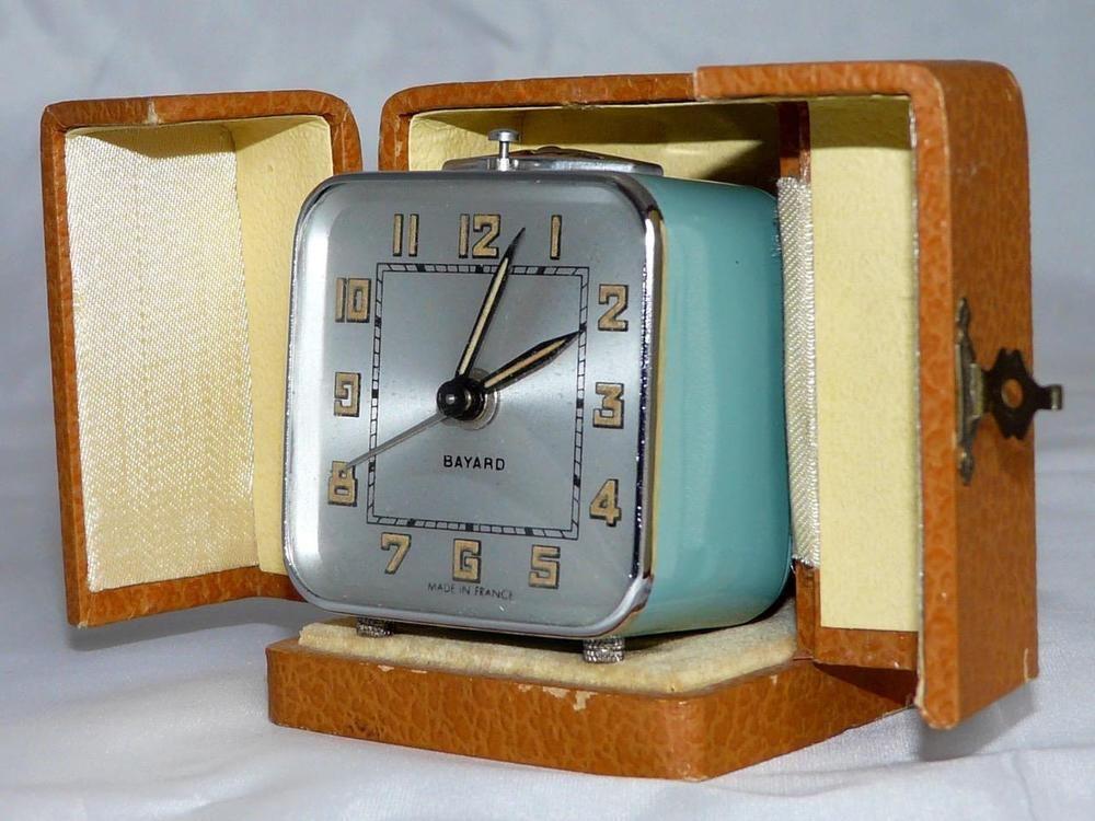 French Travelling Alarm Clock Bayard Art Deco Fully Working