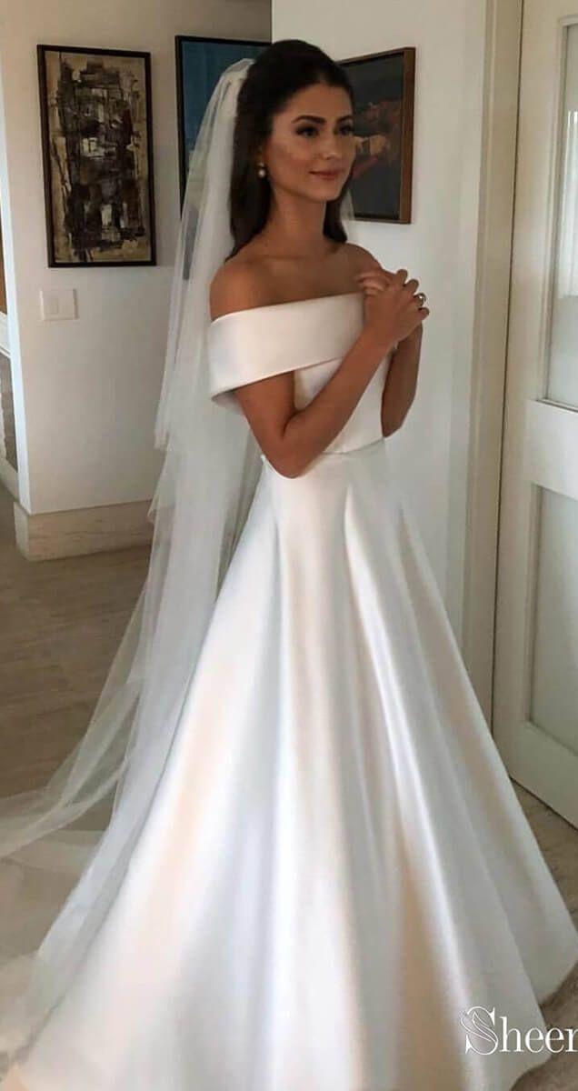Simple Modest Ivory Off The Shoulder Wedding Dresses Awd1323 Off Shoulder Wedding Dress Online Wedding Dress Wedding Dresses Satin