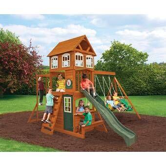 Springboro all Cedar Swing Set in 2020 | Wooden swings ...
