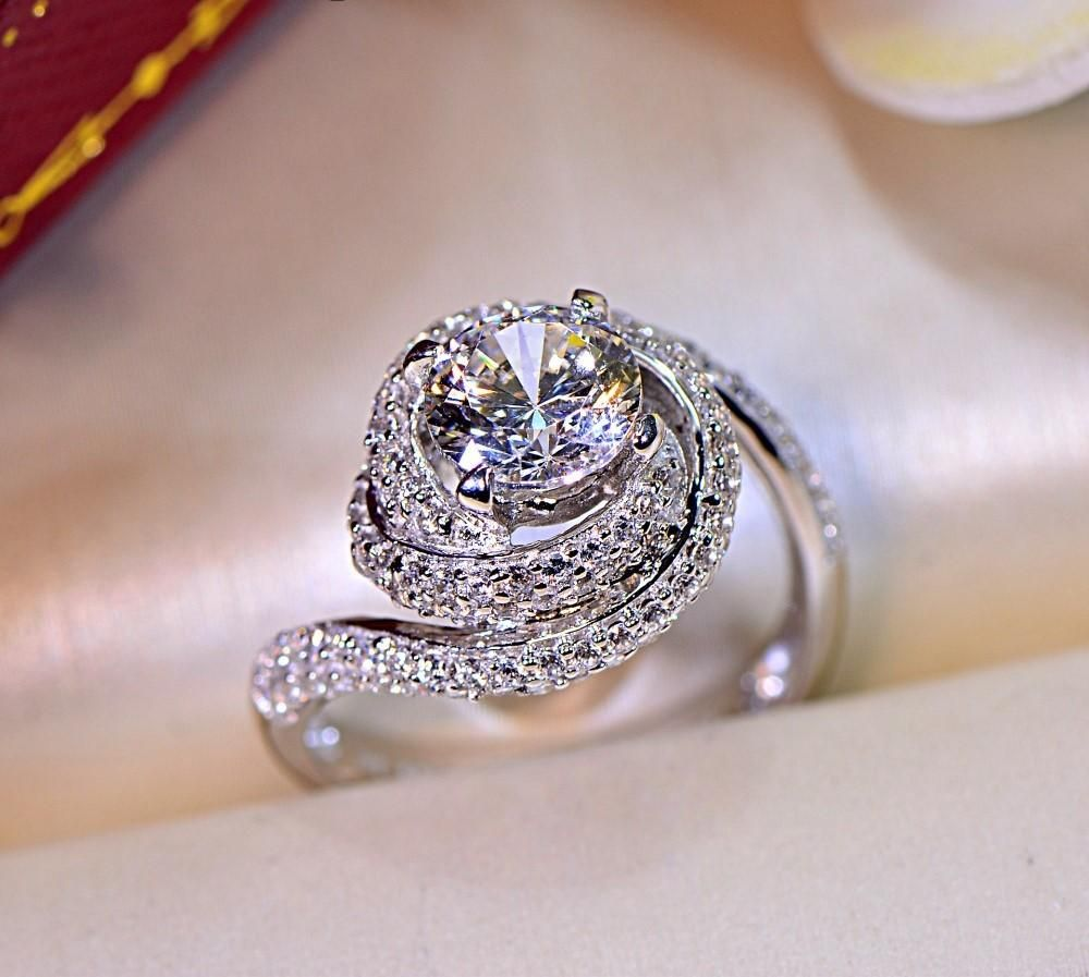 The Julia 5a Created Diamond Silver Ring Rings Jewelry Fashion Womens Engagement Rings Cross Jewelry