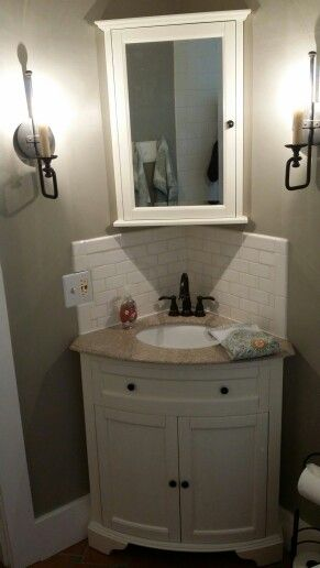 My Recently Re Done Small Bathroom Corner Bathroom Vanity Tiny House Bathroom Corner Sink Bathroom