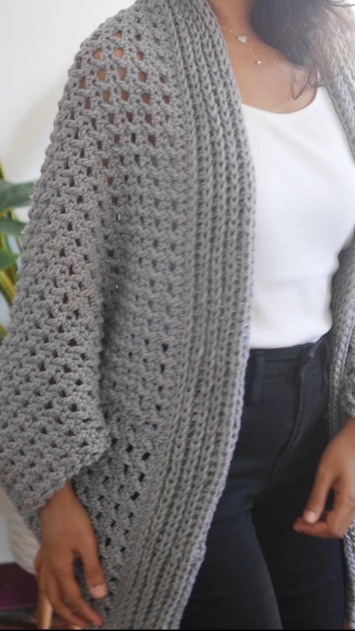 Chunky cardigan free crochet pattern+video jennyan