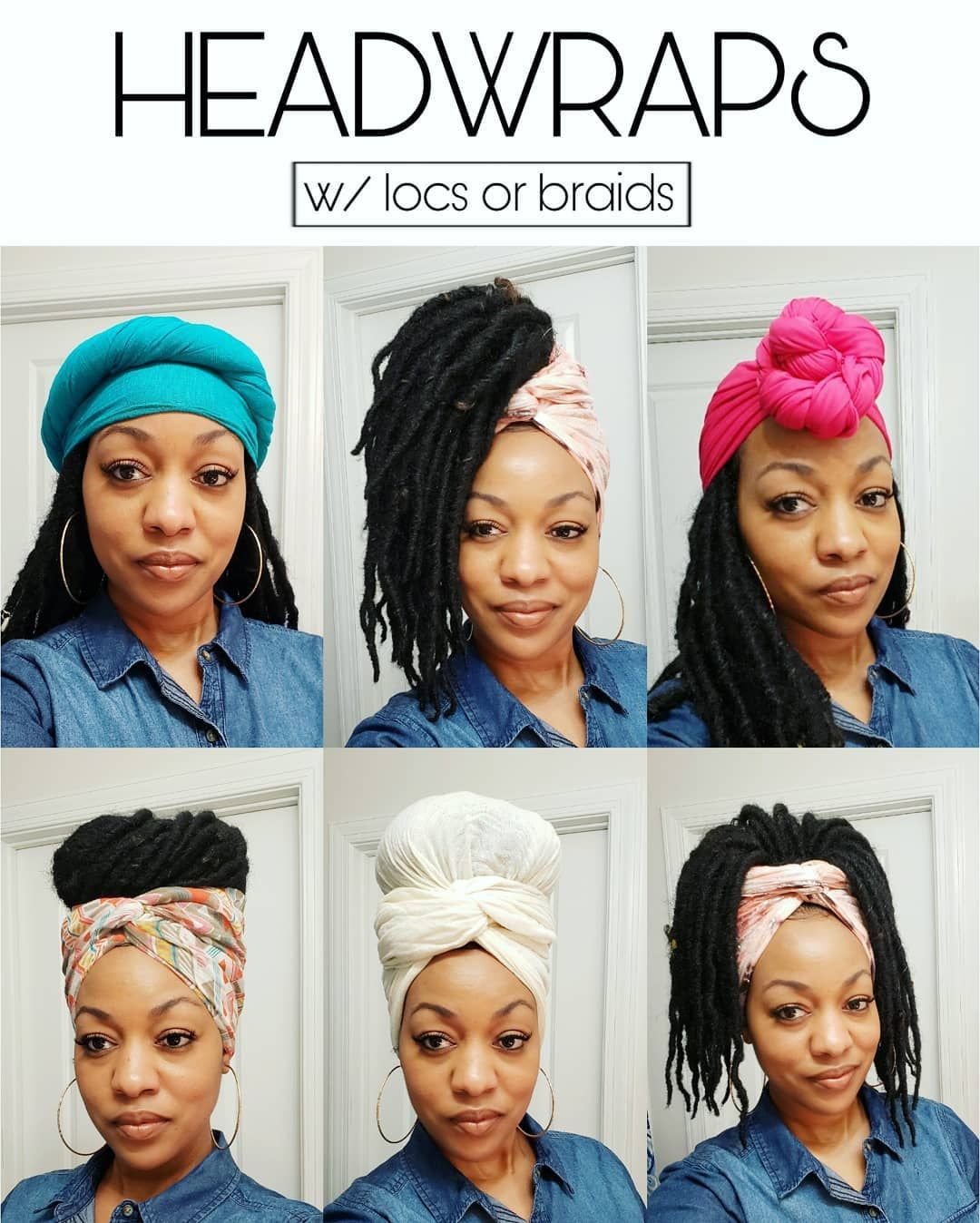 Headwrap styles with faux locs or braids instagram