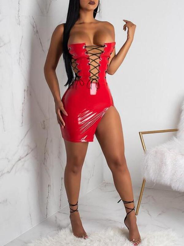 Red Studded Sheer See-Through Mesh Sleeveless Bodycon Mini Dress Clubwear