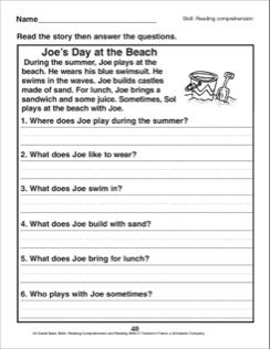 Joe's Day at the Beach (A Reading Comprehension Passage With ...