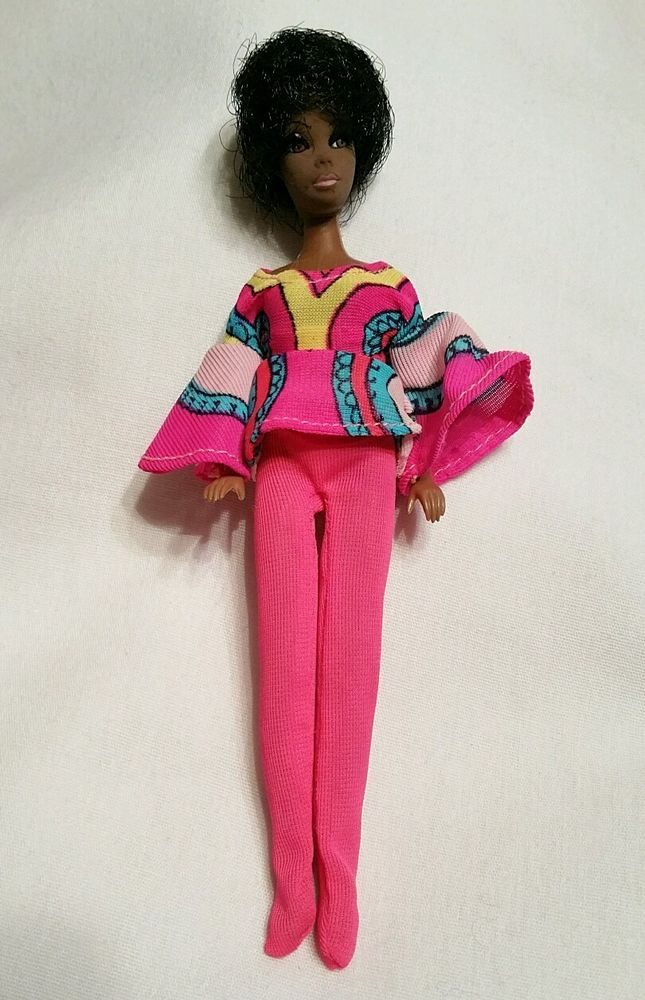 Vintage 1970 Topper Doll Black African American Pink