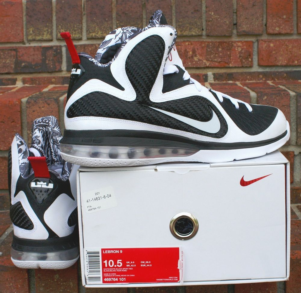 Nike LeBron IX 9 Freegums White White-Black-Sport Red SKU  469764-101 Size  10.5  Nike  BasketballShoes 9e0fb2860