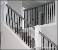 Best Modern Expresso Stair Railing With Iron Spindles Grey 400 x 300