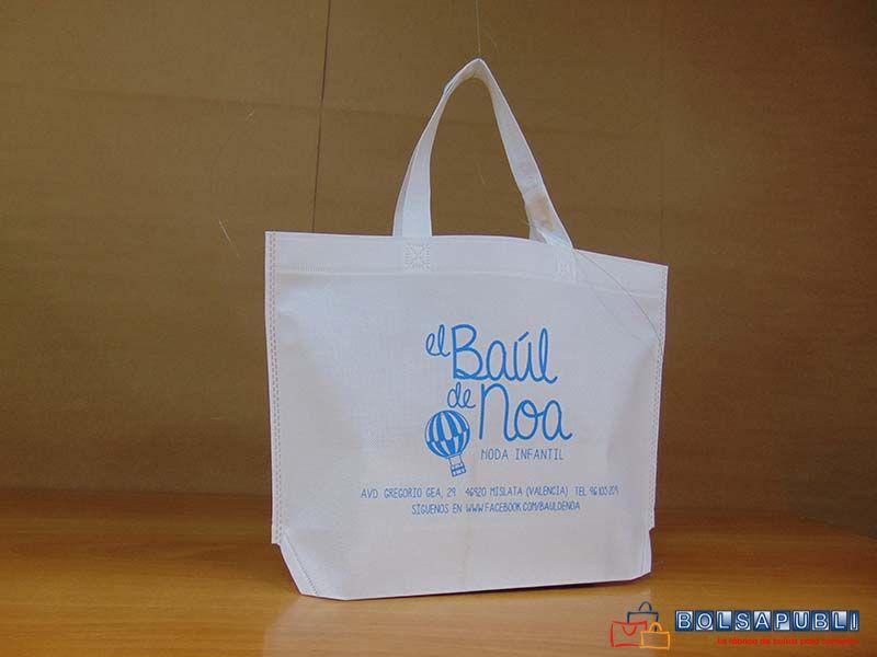 b62af0d62 Bolsa de tejido sin tejer o TST en blanco impreso en azul claro. Envase de