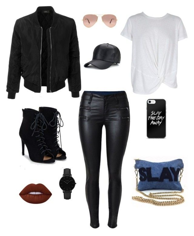 """""""SLAY"""" by zarachioma on Polyvore featuring MINKPINK, LE3NO, JustFab, Ray-Ban, Lime Crime, CLUSE and zarachioma"""