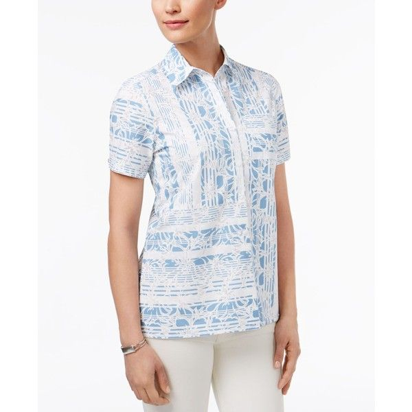 Alfred Dunner Blue Lagoon Patchwork Printed Shirt ($41) ❤ liked on Polyvore featuring tops, cornflower, blue white shirt, alfred dunner shirts, short-sleeve shirt, white short sleeve top and white short sleeve shirt