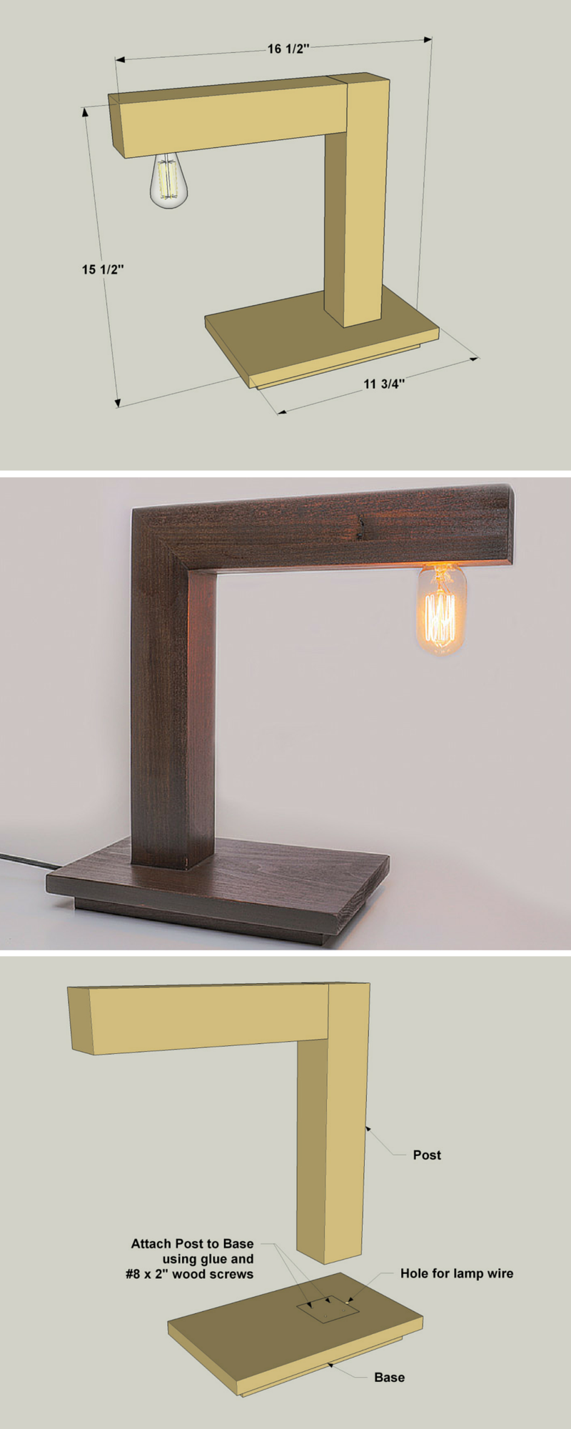 How to build a DIY Modern Desk Lamp | Free printable ...
