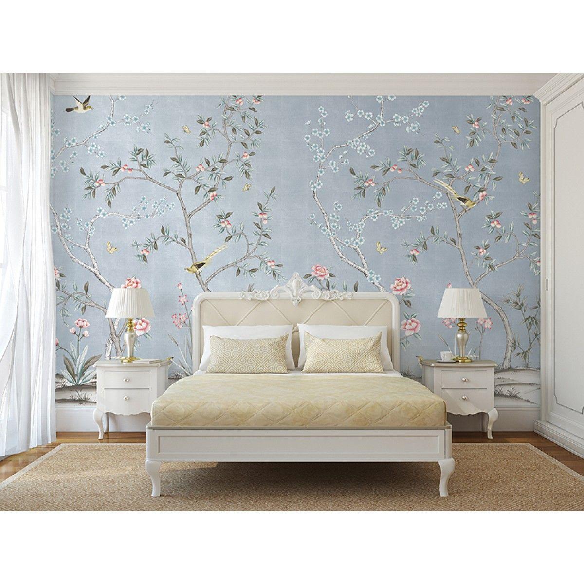 Best Chinoiserie Garden Metallic Ice Blue Diy Bedroom Decor 400 x 300