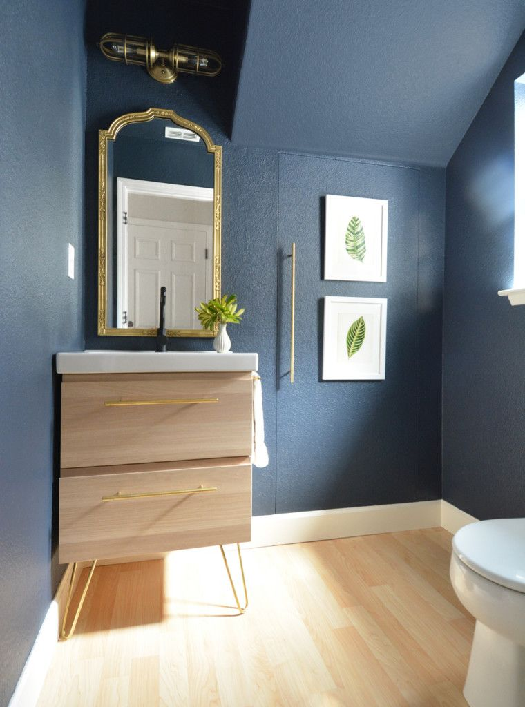 navy walls pale wood vanity  would do black and white tile. Cute tiny bathroom  Paint  Benjamin Moore  Hale Navy   Vanity