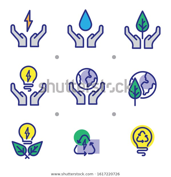 Simple Set Icon Save Energy Save Stock Vector Royalty Free 1617220726 Icon Water Icon Icon Design