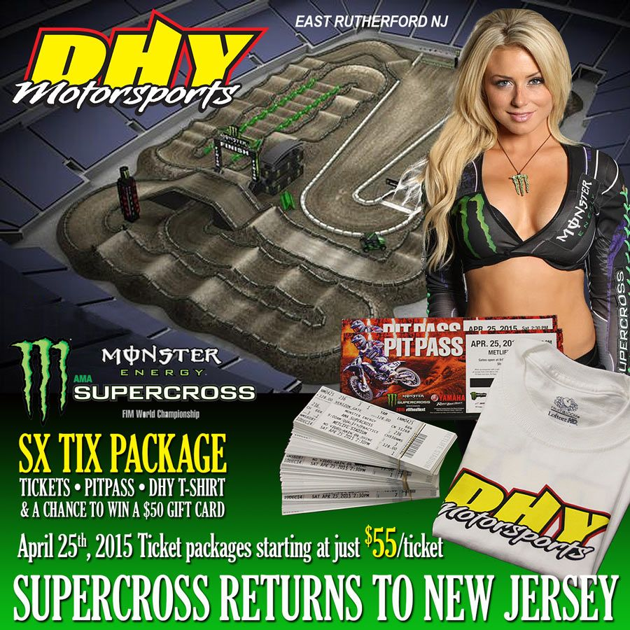 Every #Supercross ticket we sell comes with a #PitPass #DHYMotorsports t-shirt, and a chance to win a $50 gift card!