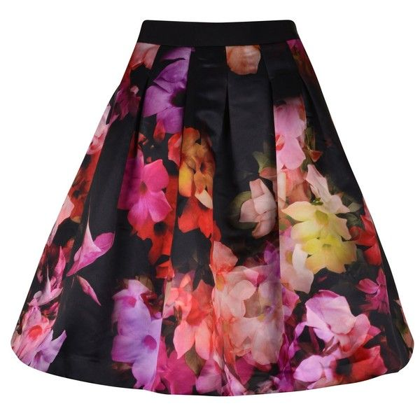 Ted Baker Floral Print Satin Skirt ($110) ❤ liked on Polyvore featuring skirts, black, black evening skirt, black box pleat skirt, floral printed skirt, floral skirt and print skirt