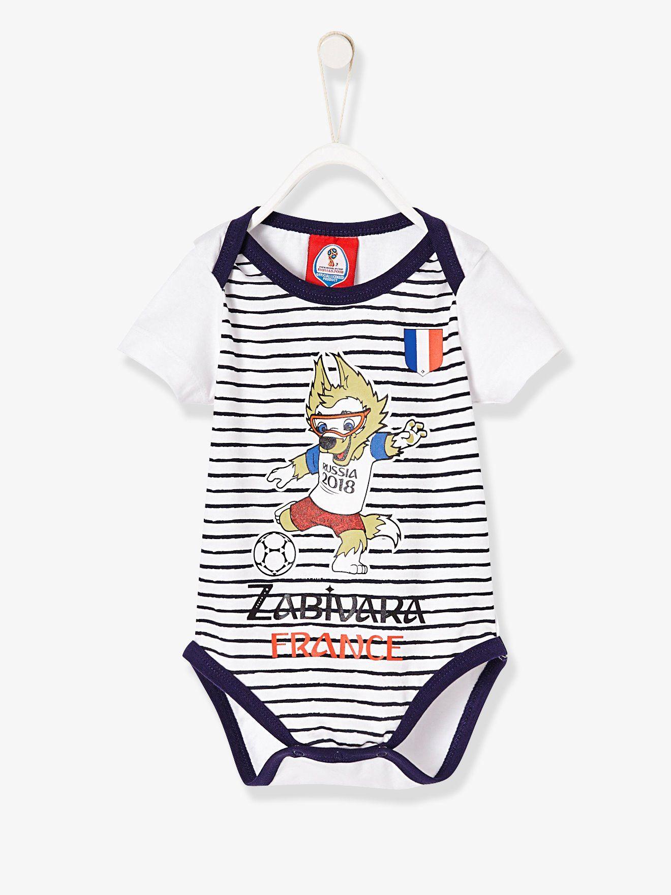 Body bébé manches courtes France FIFA® 2018 blanc rayé bleu - Rayures  marines et la 1ad1e65c717