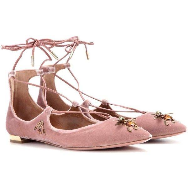 Aquazzura Christy Fauna Flat Embellished Velvet Ballerinas