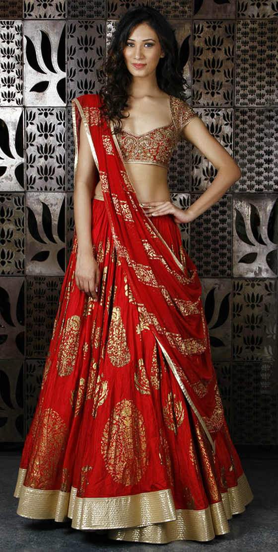 94b1e6c45f Red Chanderi silk with gold foil print www.indianroots.com ...