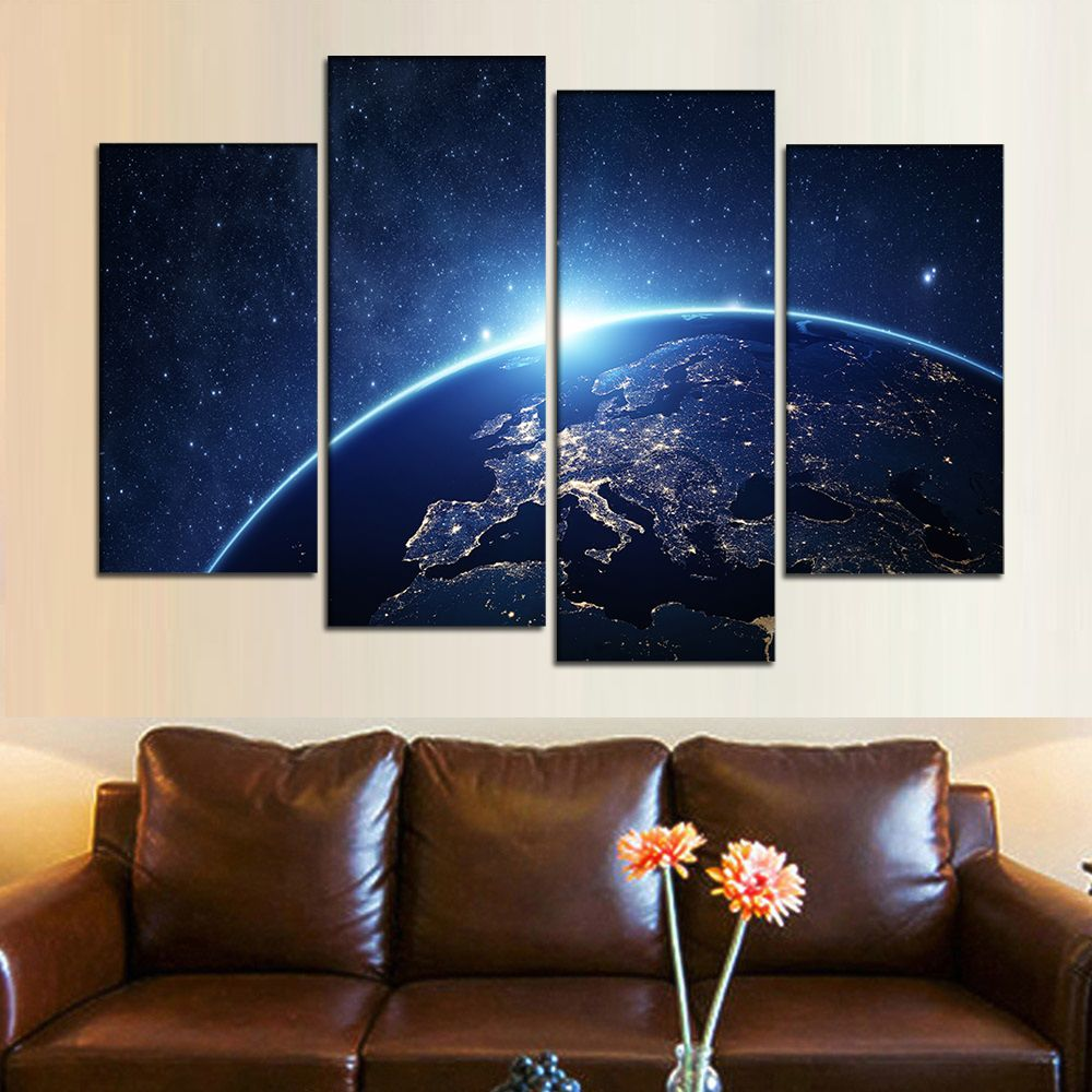 4 Pièces Grand Moderne Photos Mur De Terre Art Univers Affiche Terre