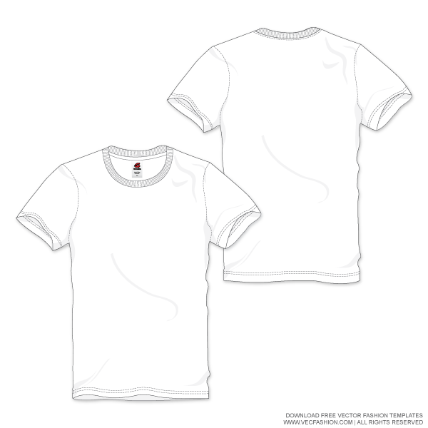 Download Men White Round Neck T Shirt Vector Template Vecfashion