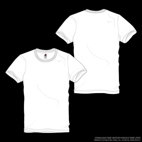 Download Men White Round Neck T Shirt Vector Template Vecfashion