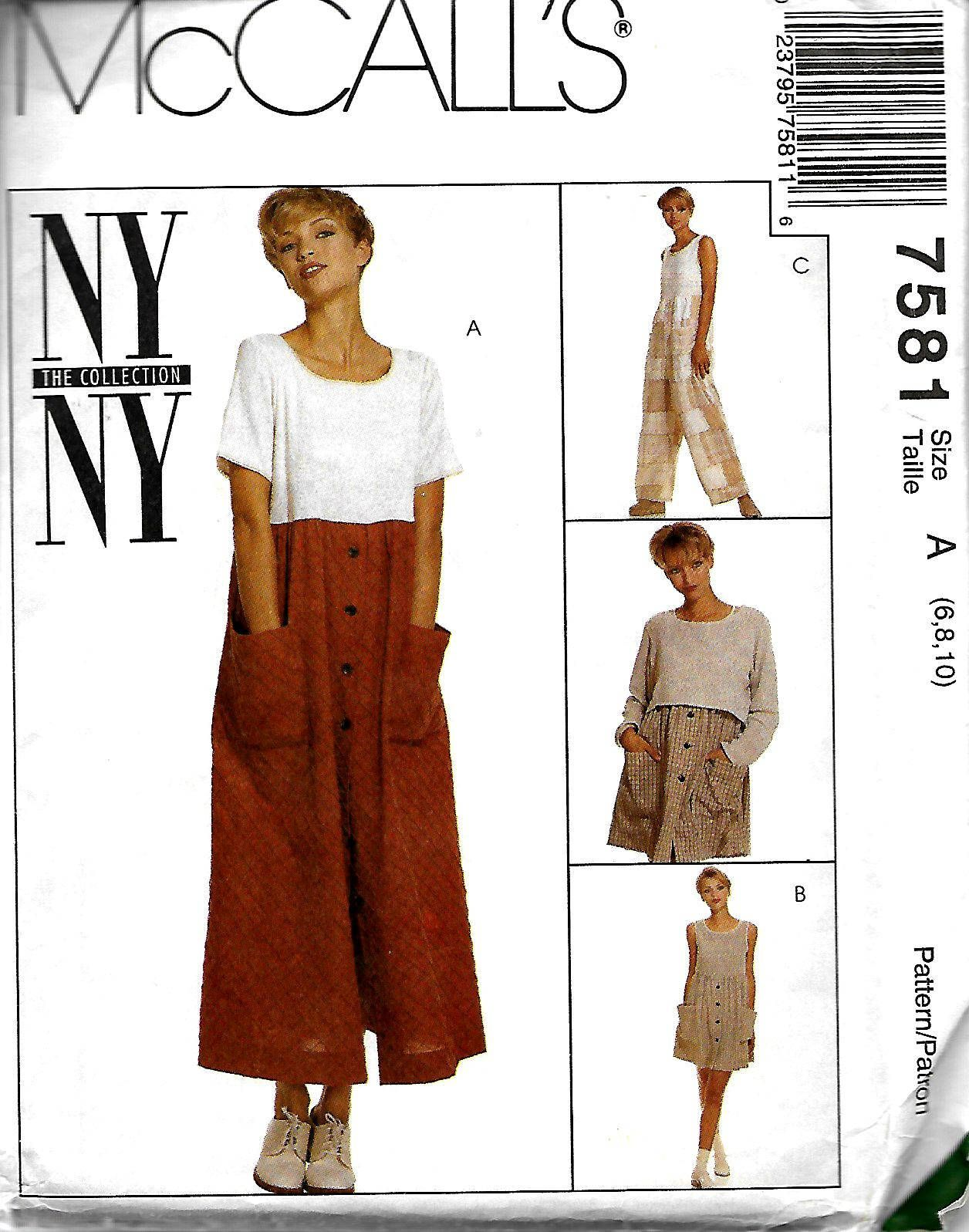 36e0ec04a McCall's 7581 Misses Raised Waist Dress In Two Lengths, Jumpsuit And Top  Pattern, NY Collection, Size 6-10, UNCUT by DawnsDesignBoutique on Etsy