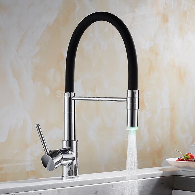 Gizero Kitchen Swivel Faucet Hot Cold Mixer Led Faucet Deck Mount