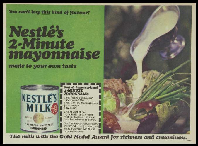 Nestle Condensed Milk Mayonnaise Recipe Magazine Advertisement Ad January 1970 Vintage Retro