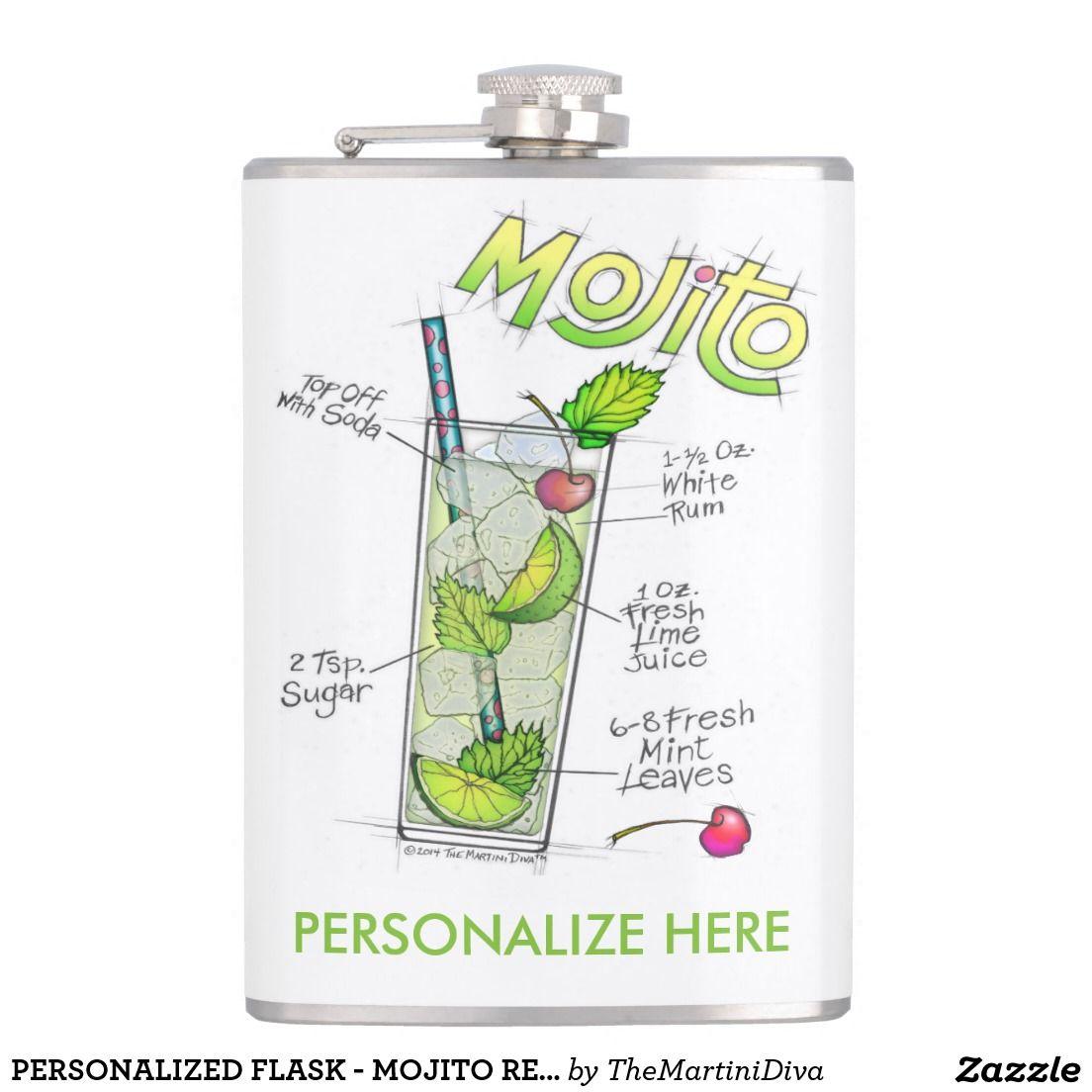 Personalized Flask Mojito Recipe Cocktail Art Zazzle Com Personalized Flasks Mojito Recipe Cocktail Art