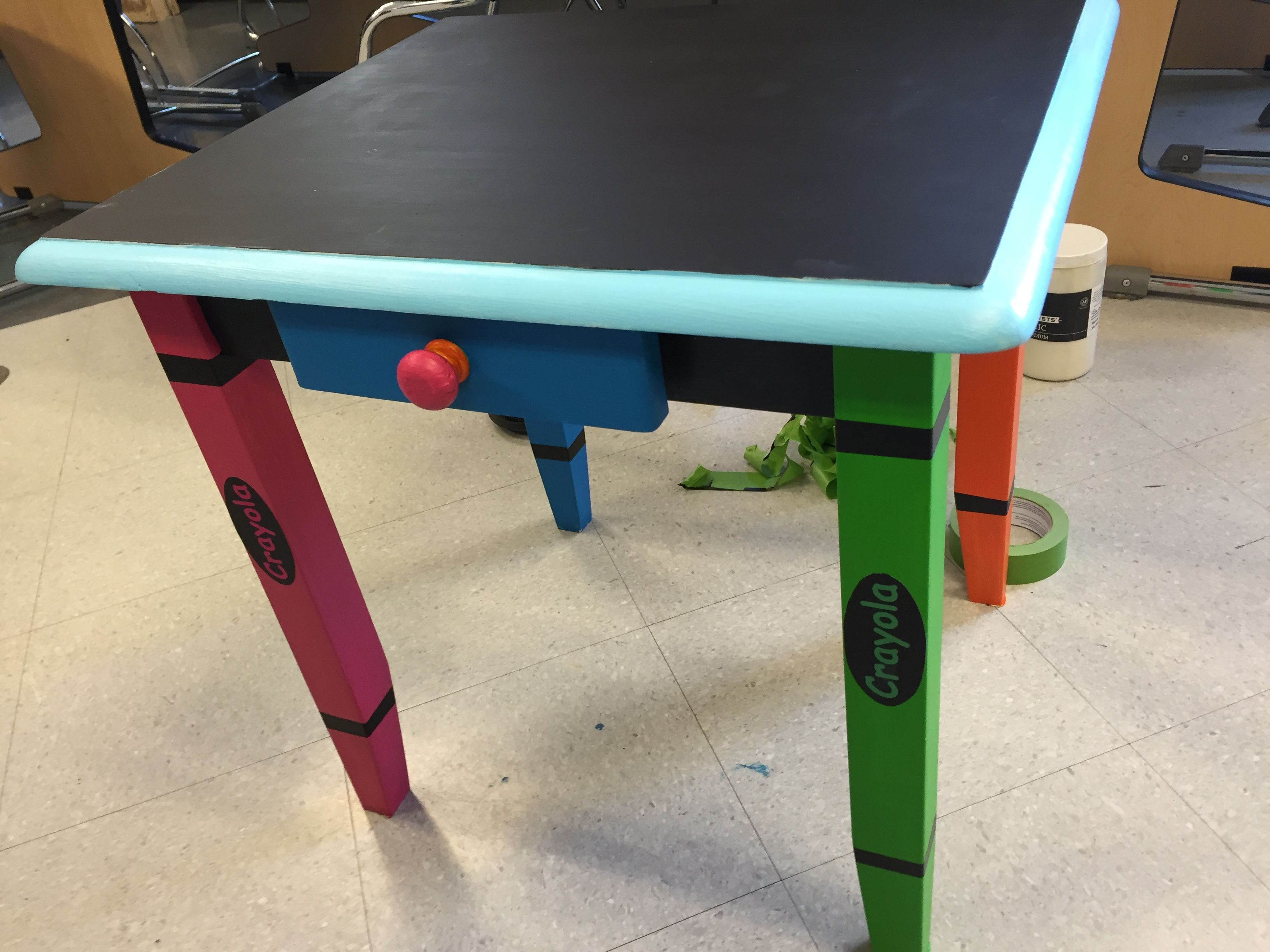 Fabulous Painted Small Kids Craft Table Painted With Acrylic Crayon Ocoug Best Dining Table And Chair Ideas Images Ocougorg