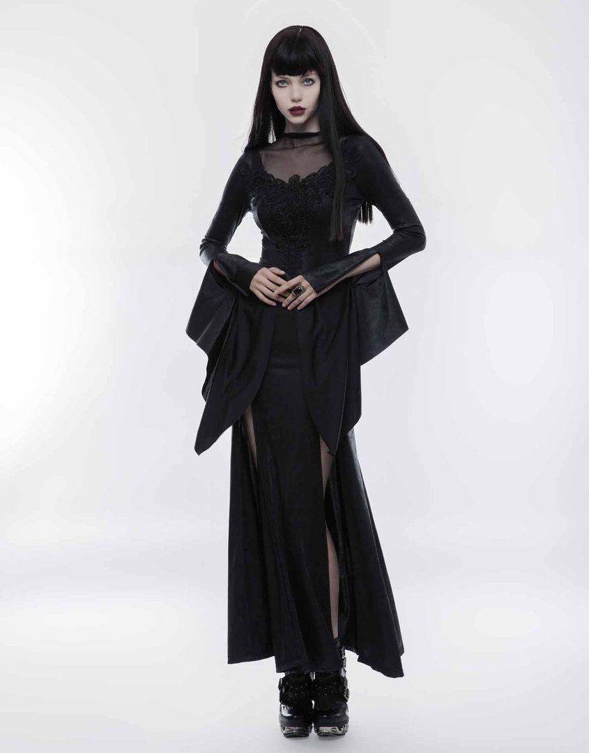 Wunderschönes langes wetlook Gothic-Kleid  BOUDOIR NOIR  Gothic