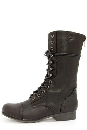 * Cruelty Free - Vegan Leather * Madden Girl Gamblez Black Pari Lace-Up Combat Boots at LuLus.com!