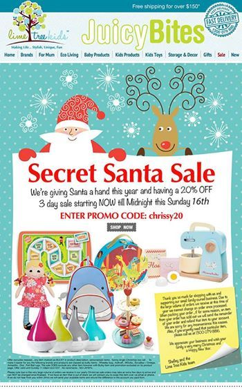 "Oohh... Who's getting some gorgeous wooden toys in the Secret Santa Sale? Know a mum who needs to know about this? Well, go ahead and share with her!!  Remember sale is on till Sunday Nov 16th and use promo code ""chrissy 20"". Terms and conditions and exclusions apply  -Prerna"
