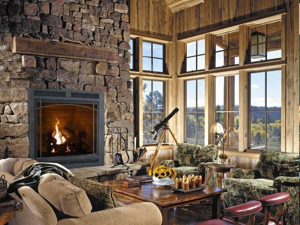 rustic design living room with fancy home fireplace appliance and