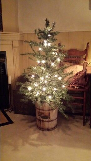 Using An Old White Ice Cream Maker Bucket To Hold Tree Primitive Christmas Fall Halloween Crafts Christmas Decorations