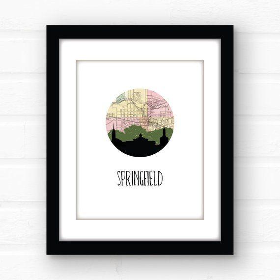 Springfield Ohio home decor Ohio city skyline print
