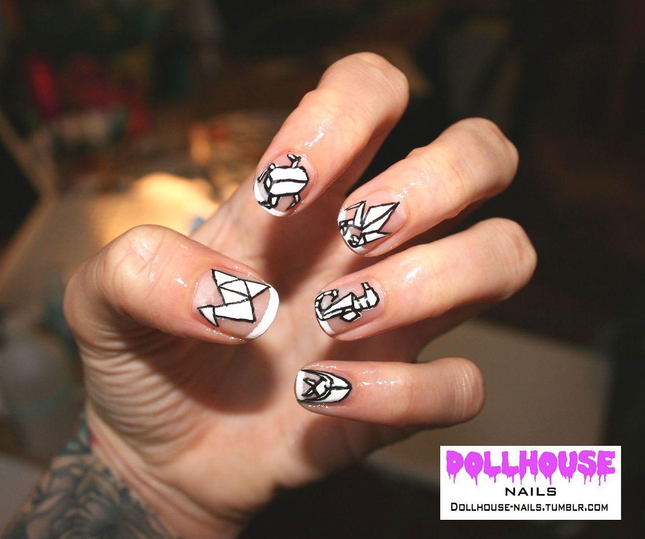 Nail Art. Animal origami nails  see more of my nail work at: dollhouse-nails.tumblr.com