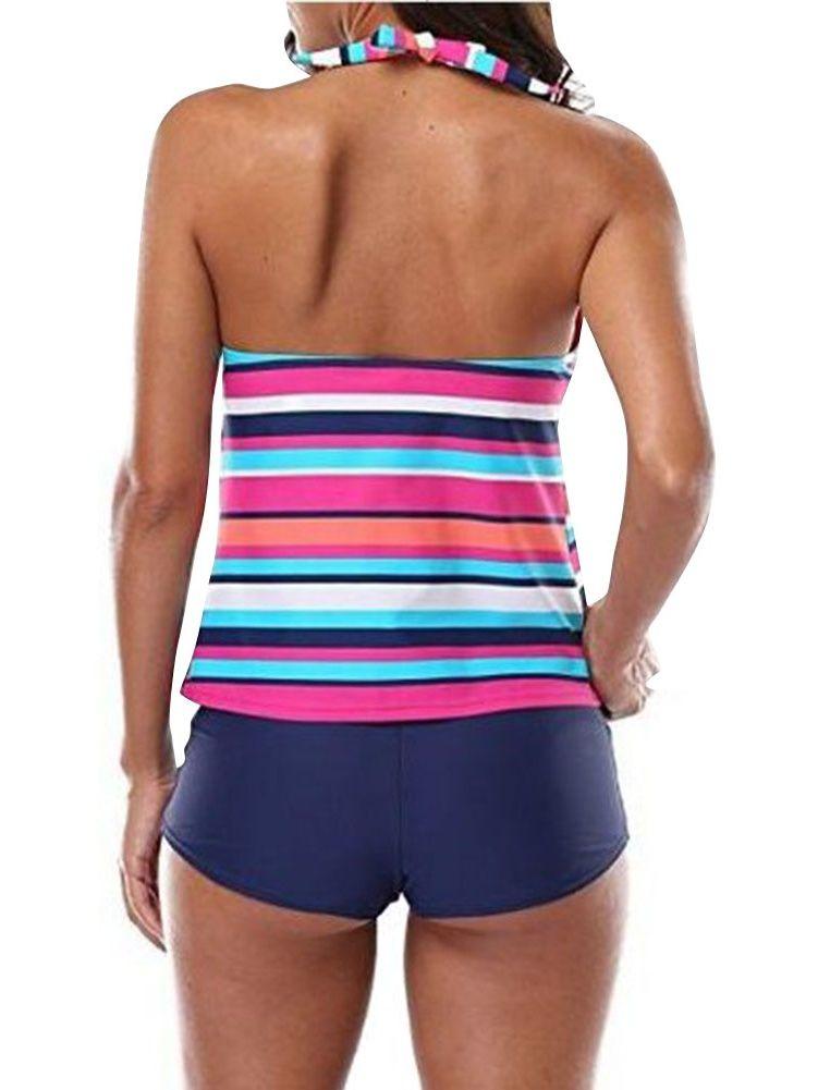 16a584ef558 ZXZY Women Striped Printing 2 Pieces Bathing Suit Swimwear Striped ...