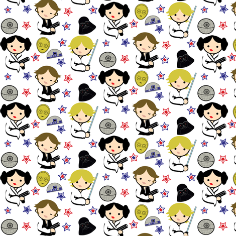Omg Too Cute Star Wars Chibi Fabric By Kiwicuties On Spoonflower Poster Decoracao Estampas Padroes De Impressao