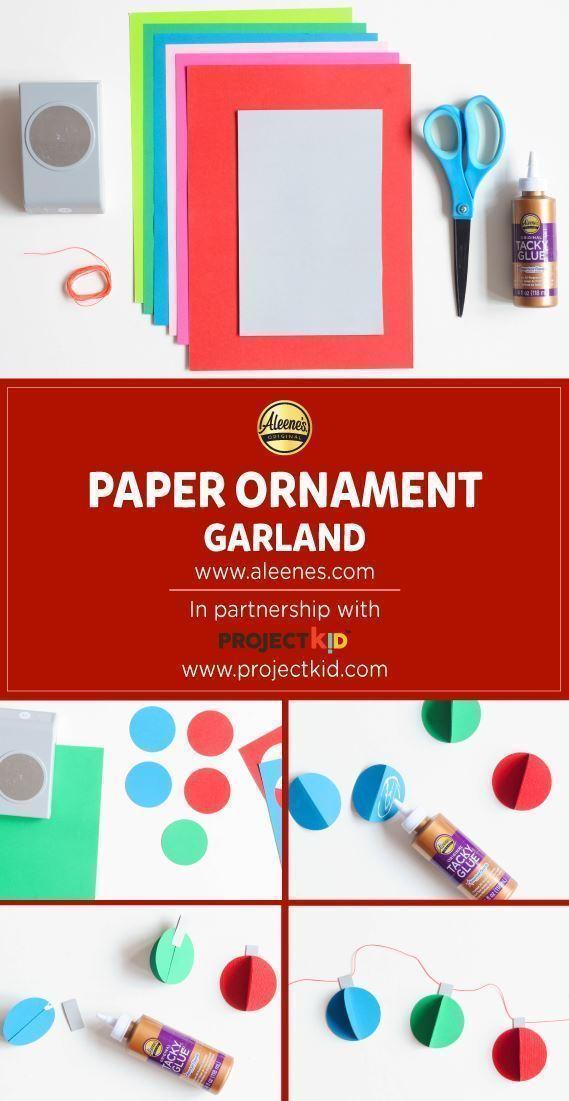 Aleene's Paper Ornament Garland #holidaykidscrafts #christmascraftsforkids #christmascraftideas #aleenesdiy #papercrafts