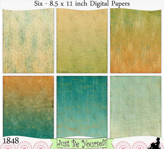 Crinkled tissue in six hues of teal, gold and cream are featured on these digital printable art journal papers. Instant download collection of 6 -