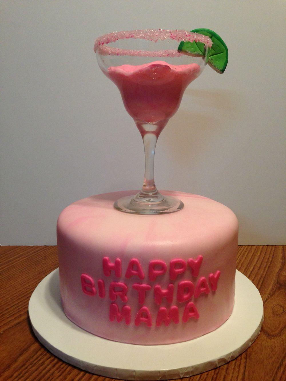 Pink Margarita Birthday Cake Fondant Covered Cake And Fondant Filled