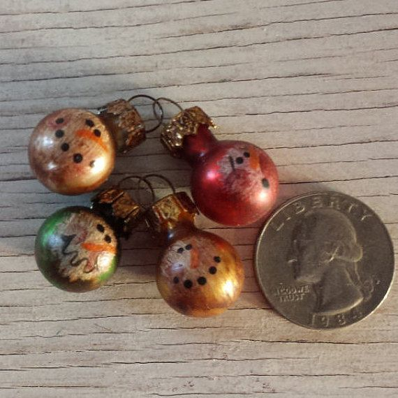 MINI Snowman Ornament, Primitive Snowman Ornament, Fur Tree
