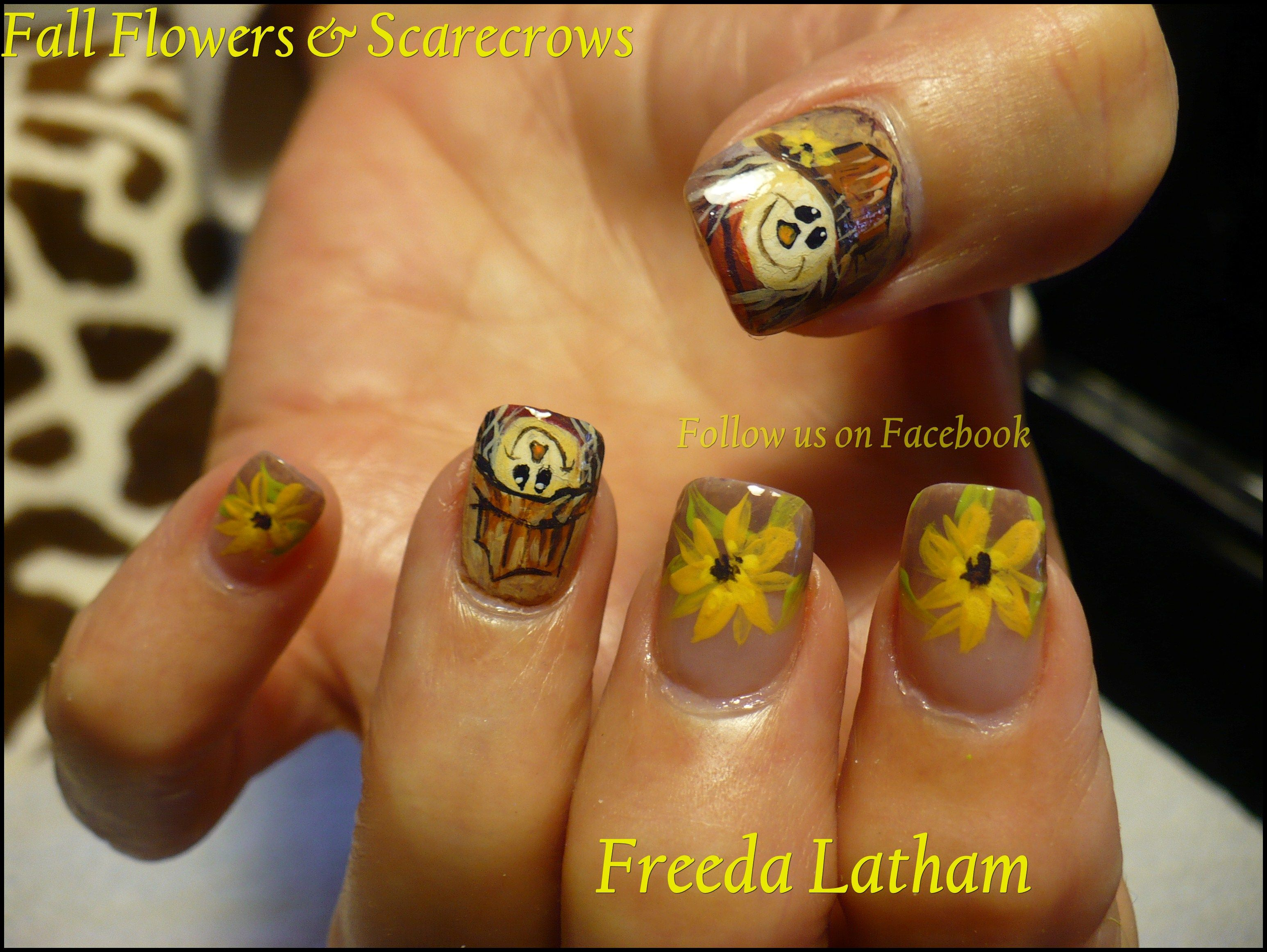 Here Is My New Scarecrow Design Thanksgiving Nail Art Turkey Nails Fall Nail Art