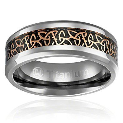Uni or Men s Titanium Irish Triquetra Ring Wedding Band Mens