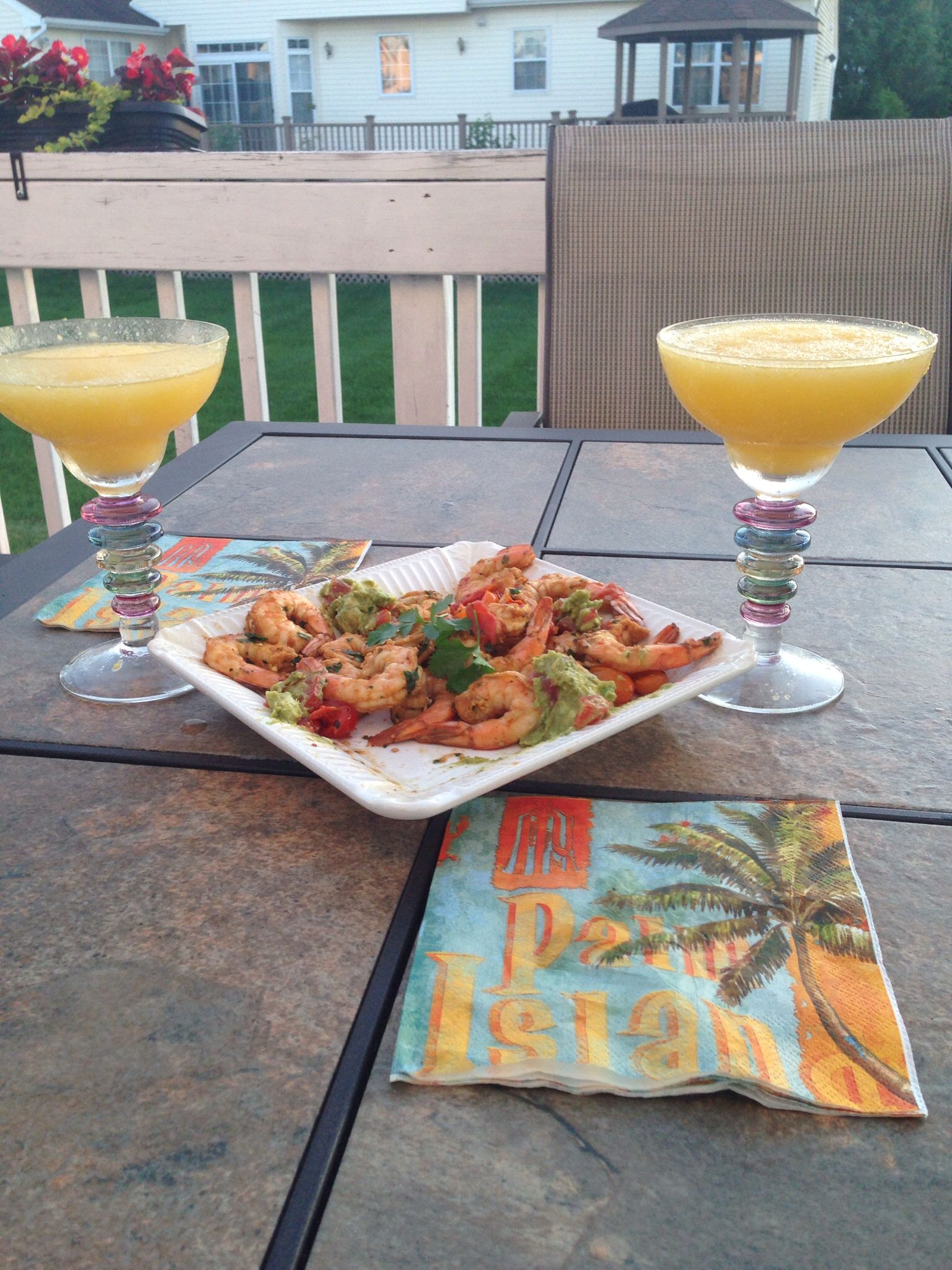 Margaritas and spicy grilled shrimp